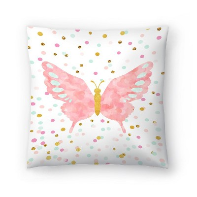 Americanflat Butterfly by Peach & Gold Throw Pillow