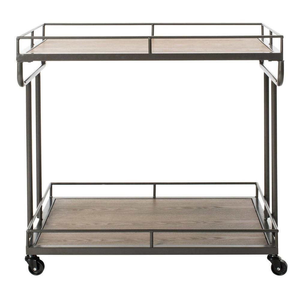 Safavieh BCT6200A Dawson Bar Cart, Rustic Oak/Gunmetal