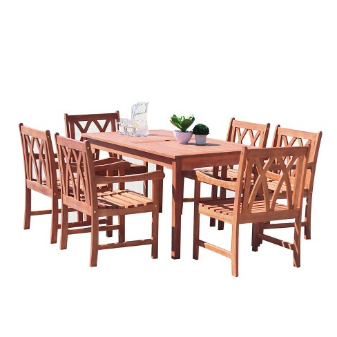 Malibu 7pc Rectangle Hardwood Outdoor Eco-friendly Patio Dining Set - Brown - Vifah - image 1 of 7