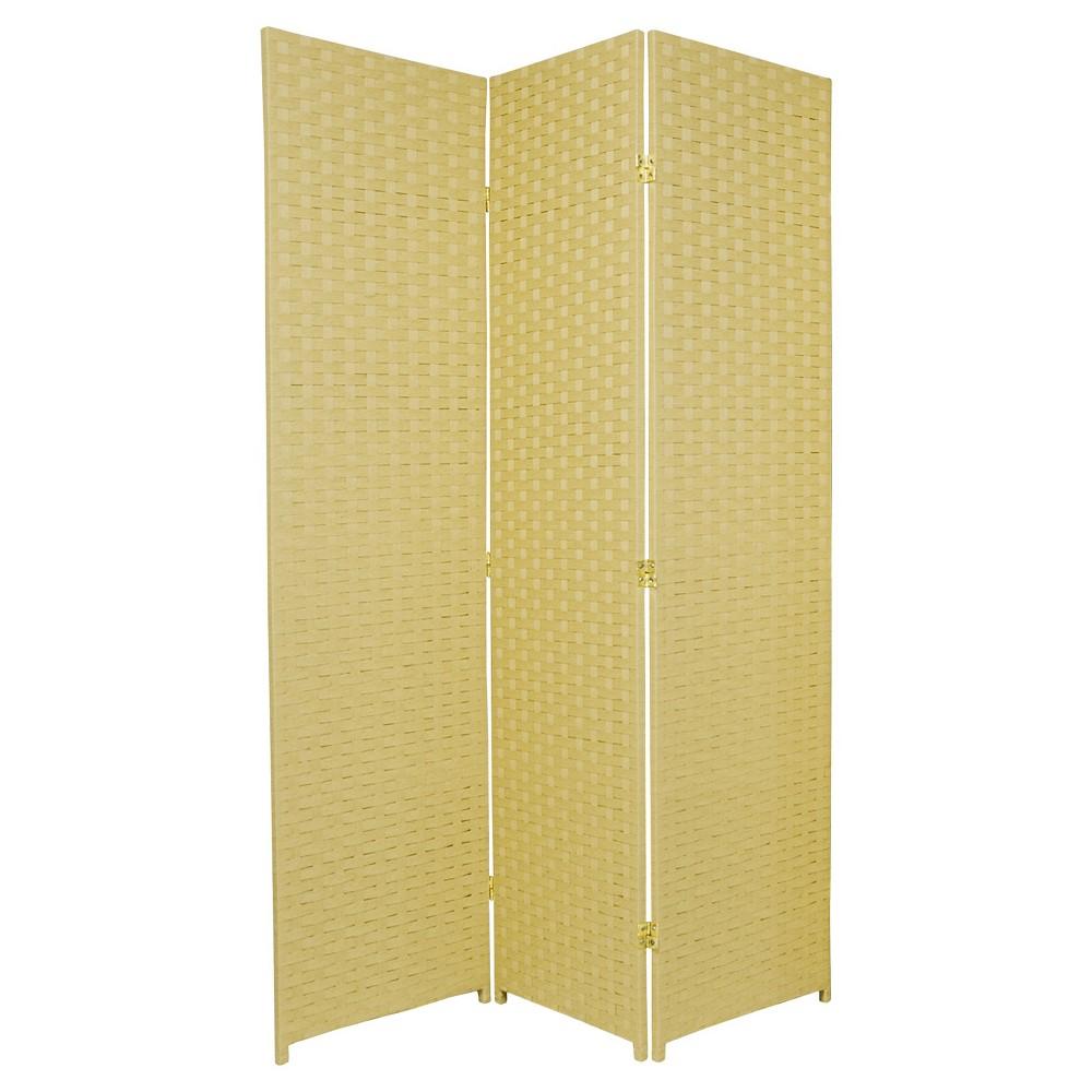 6 ft. Tall Woven Fiber Room Divider - Dark Beige (3 Panels), Buff Beige