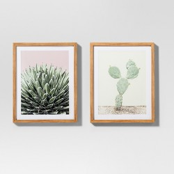 """Framed Cactus Wall Print 2pk White/Green 20""""x16"""" - Project 62™"""