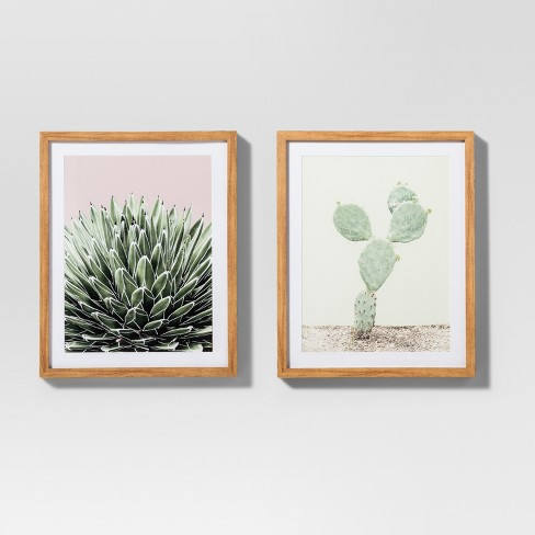 Framed Cactus Wall Print 2pk White Green 20 X16 Project 62 Target