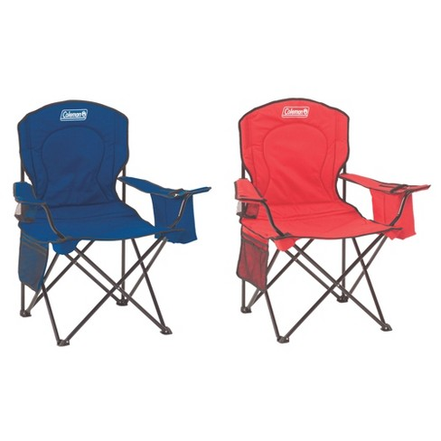 Coleman Quad Camping Lawn Chair W Built In Cooler And Cup Holder