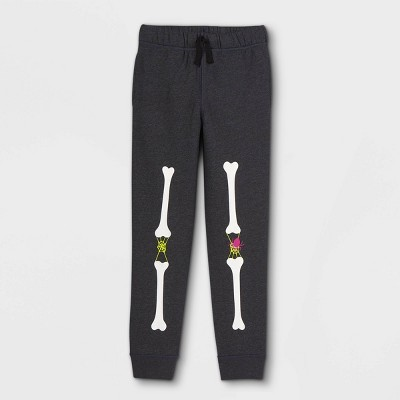 Kids' Adaptive Diaper Friendly Halloween Skeleton Jogger Pants - Cat & Jack™ Black
