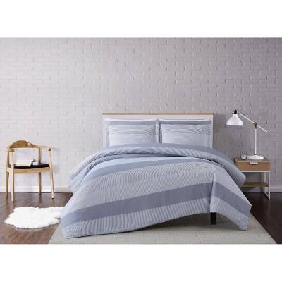 Multi Stripe Duvet Cover Set Gray - Truly Soft