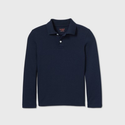 Boys' Long Sleeve Interlock Uniform Polo Shirt - Cat & Jack™ Navy