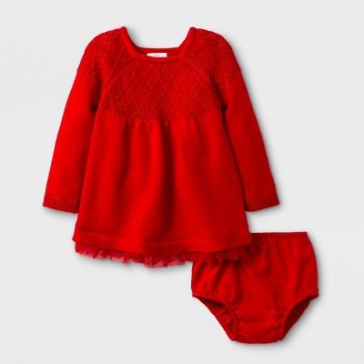 Baby Girls' Long Sleeve Lattice Stitch Yoke Sweater Dress - Cat & Jack™ Red Newborn