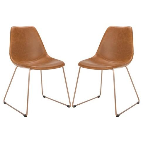 Set Of 2 Dorian Midcentury Modern Leather Dining Chair Safavieh
