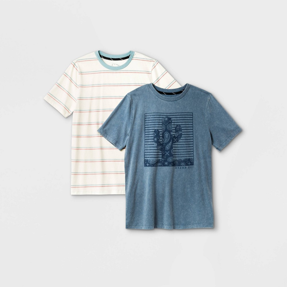 Boys 39 2pk Cactus Graphic Short Sleeve T Shirt Art Class 8482 White Blue Xxl