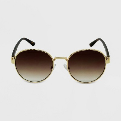 Women's Tortoise Shell Print Round Sunglasses - Wild Fable™ Gold