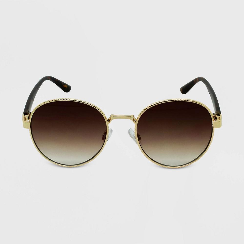 Women 39 S Tortoise Shell Print Round Sunglasses Wild Fable 8482 Gold