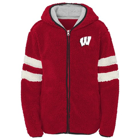 NCAA Wisconsin Badgers Girls' Zip-Up Sherpa Hoodie - image 1 of 1