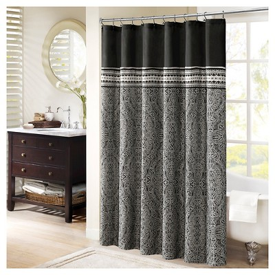 Floral Shower Curtain Black