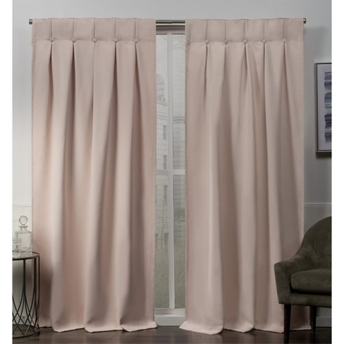 Sateen Woven Blackout Button Top Window Curtain Panel Pair -Exclusive Home - image 1 of 4