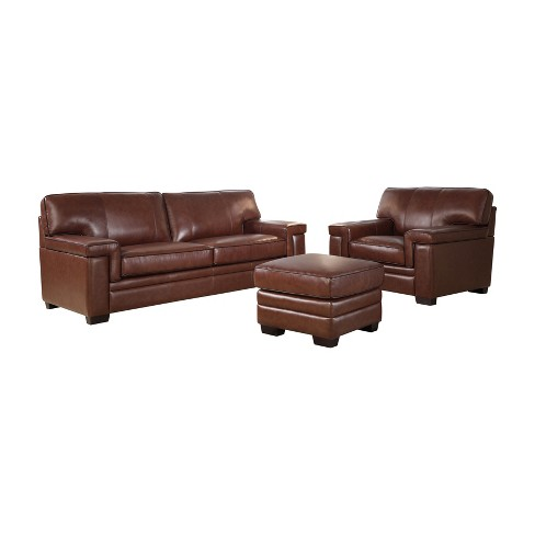 3pc Evan Top Grain Leather Seating Set Brown - Abbyson Living : Target