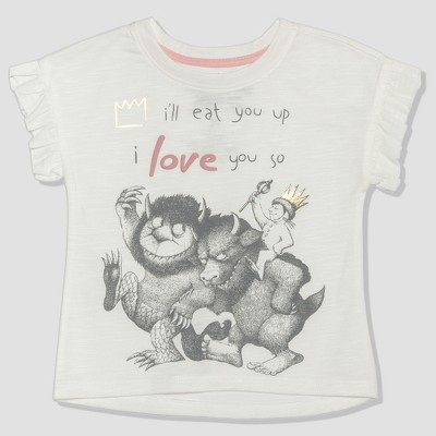 Toddler Girls' Where the Wild Things Are Short Sleeve T-Shirt - White 2T