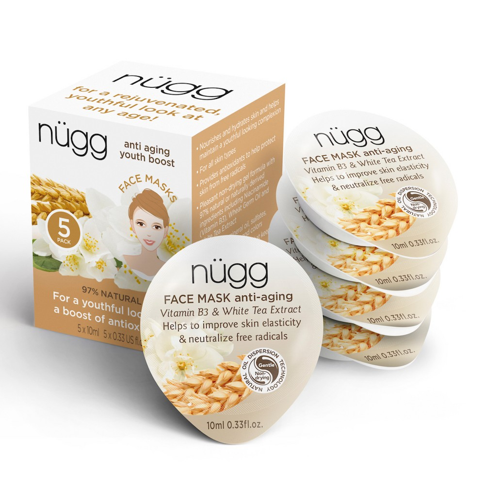 nügg Anti-Aging Face Mask with Vitamin B3 & White Tea Extract - 5ct
