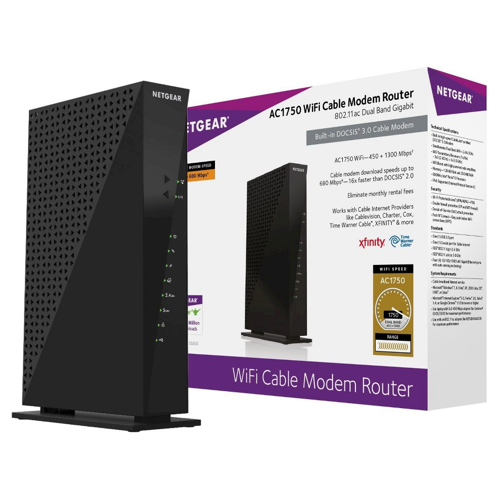 Netgear AC1750 WiFi Docsis 3.0 Cable Modem Router (C6300), Black The Netgear AC1750 WiFi Cable Modem Router provides the fastest cable speed available with an AC1750 WiFi router and integrated Docsis 3.0 cable modem, with up to 680 Mbps†. CableLabs certified to work with all major cable Internet providers such as Cablevision, Charter, Cox, Time Warner Cable, Xfinity and more. Color: Black.
