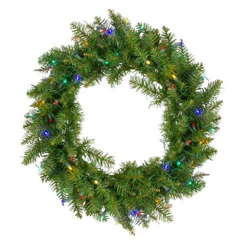 "Northlight 24"" Prelit LED Lights Northern Pine Artificial Christmas Wreath - Multi Lights - image 1 of 3"