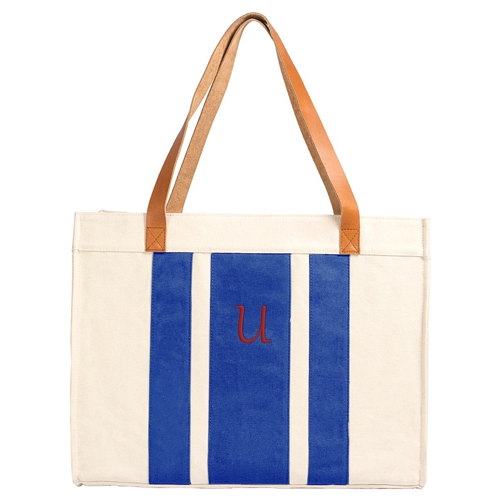 Cathy's Concepts Women's Monogram Tote Handbag - Blue Stripe U, Blue - U