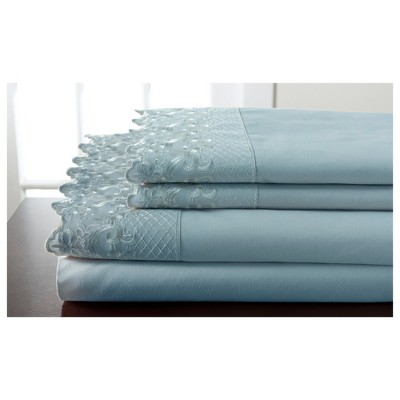 Hotel Lace Microfiber Sheet Set (Queen)Spa Blue - Elite Home Products
