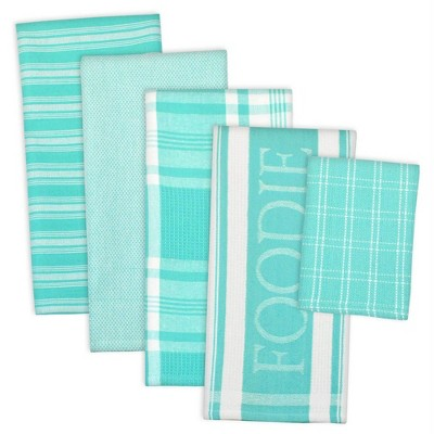 5pc Cotton Assorted Foodie Dishtowel and Dishcloth Set Teal - Design Imports