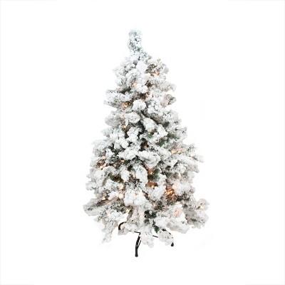 Northlight 3' Pre-Lit Heavily Flocked Pine Medium Artificial Christmas Tree - Warm White