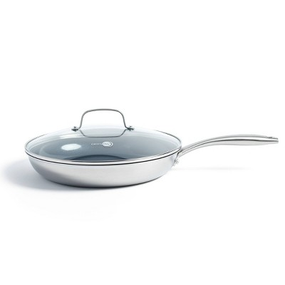 "GreenPan Greenwich  12"" Stainless Steel Frypan with Lid"