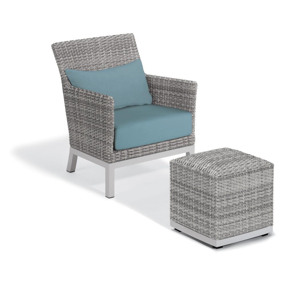 Argento 2pc Club Chair & Ottoman Set Ice Blue - Oxford Garden