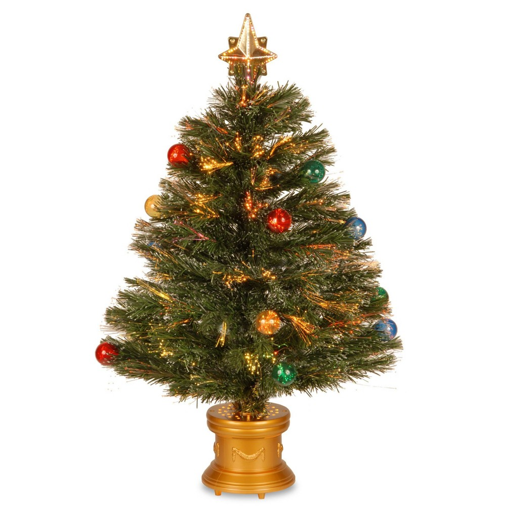 "Image of ""32"""" LED Fiber Optic Fireworks Slim Tree with Ball Ornaments - National Tree Company, Green"""