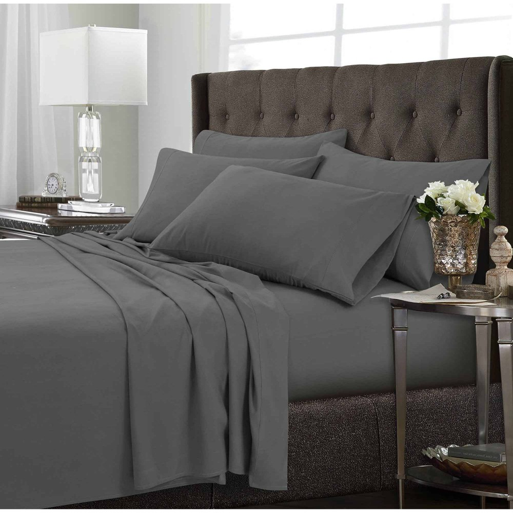 Image of California King 6pc Microfiber Extra Deep Pocket Solid Sheet Set Steel Gray - Tribeca Living
