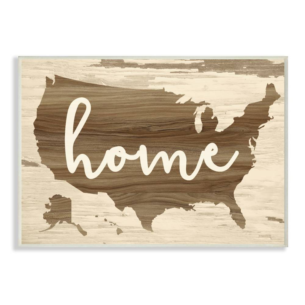 """Image of """"10""""""""x0.5""""""""x15"""""""" Home Distressed Wood Us Map Wall Plaque Art - Stupell Industries"""""""