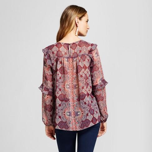 66d940ee22721 Women s Printed Ruffle Trim Woven Blouse - Knox Rose™ Merlot XS   Target