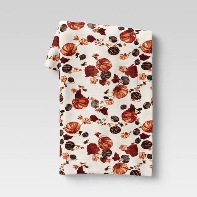 "50""x60"" Pumpkin Plush Throw Blanket with Sherpa Reverse"