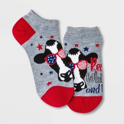 Women's 'Red, White and Moo' Cow Low Cut Socks - Heather Gray 4-10