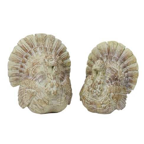 Raz Imports Set of 2 Beige and Brown Thanksgiving Turkey Tabletop Figures - image 1 of 3