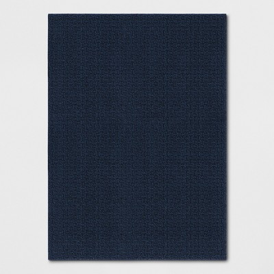 Blue Solid Washable Accent Rug 4'X5'6  - Made By Design™