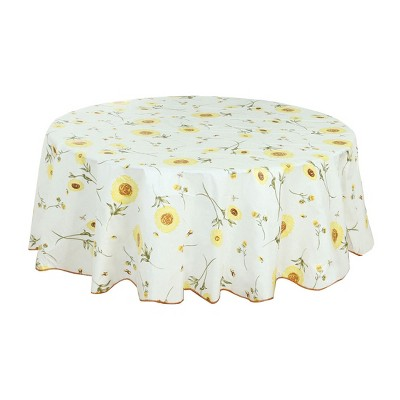 """60"""" Dia Round Vinyl Water Oil Resistant Printed Tablecloths Yellow Sunflower - PiccoCasa"""
