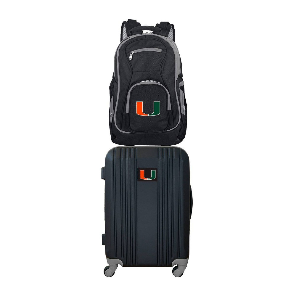 NCAA Miami Hurricanes Premium 2pc Backpack & Carry-On Luggage Set