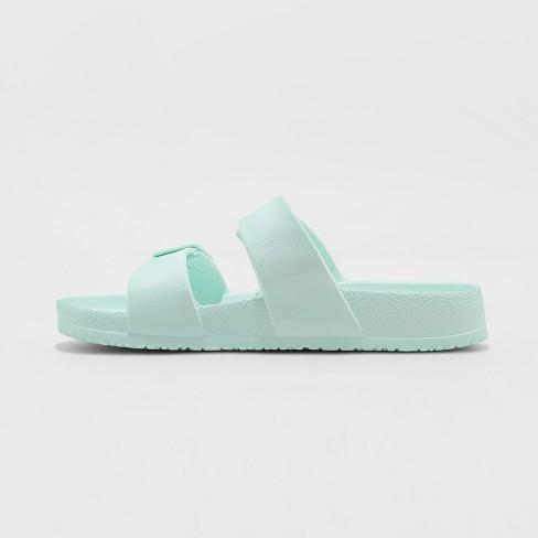 4b083647677 Women s Neida Wide Width Eva Two Band Slide Sandals - Shade   Shore™ Mint  10W   Target