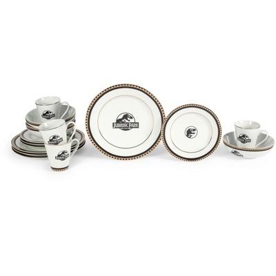 Robe Factory LLC Jurassic Park Logo 16-Piece Ceramic Dinnerware Set Replica | Plates, Bowls, Mugs