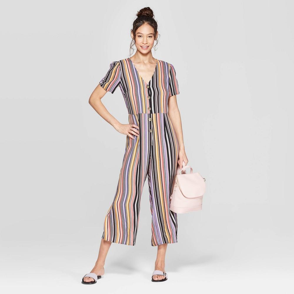 Women's Striped Short Sleeve Deep V-Neck Button Front Cropped Jumpsuit - Xhilaration Black XL