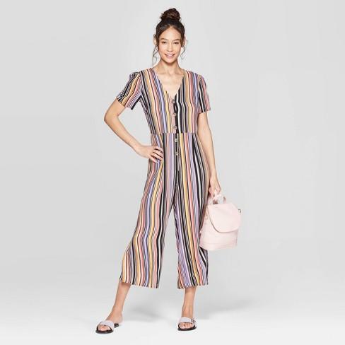5ba32d38c646 Women s Striped Short Sleeve Deep V-Neck Button Front Cropped Jumpsuit -  Xhilaration™ Black
