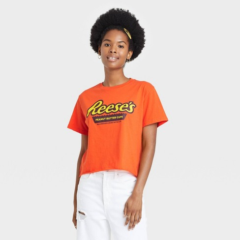 Women's Halloween Reese's Cropped Short Sleeve Graphic T-Shirt - Orange - image 1 of 3