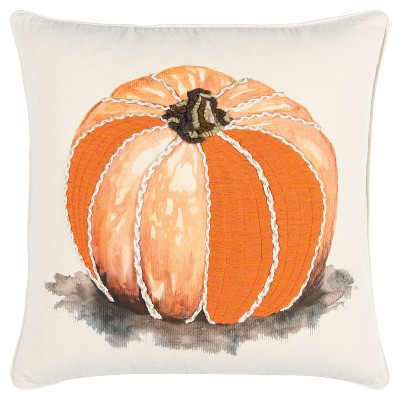 """20""""x20"""" Oversize Pumpkin Square Throw Pillow Green - Rizzy Home"""