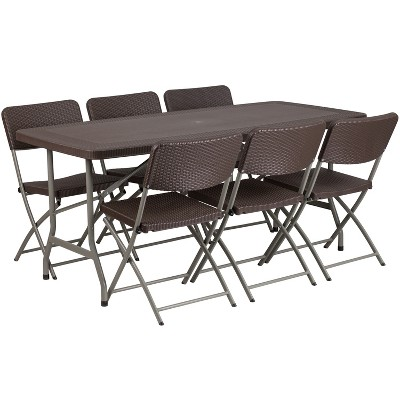 Flash Furniture 5.62-Foot Brown Rattan Indoor-Outdoor Plastic Folding Table Set with 6 Chairs
