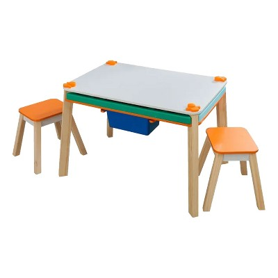 KidKraft KDK-10102 Maker's Space Project Station Stain Resistant Activity Puzzle Craft Homeschool Table and Stool Set w/ Removable Storage Ages 3 to 8