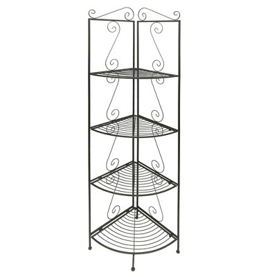 """71"""" 4 Tier Metal Foldable Corner Bookcase with Decorative Scrolled Details Black - Benzara"""