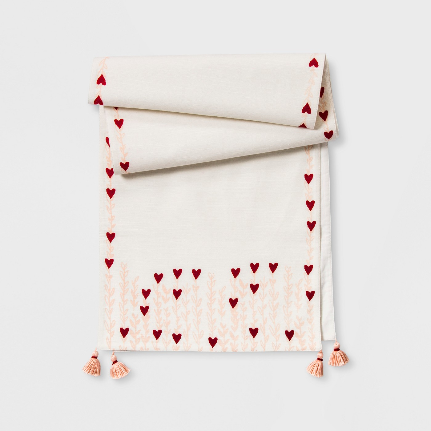 "72""x14"" Printed Heart With Tassels Table Runner Cream/Pink - Opalhouse™ - image 1 of 2"
