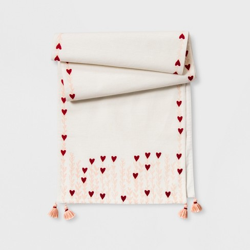 """72""""x14"""" Printed Heart With Tassels Table Runner Cream/Pink - Opalhouse™ - image 1 of 2"""